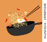 frying chinese noodles with egg ... | Shutterstock .eps vector #1898893348