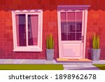cottage house facade front view ...   Shutterstock .eps vector #1898962678