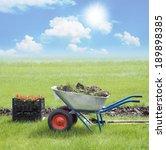 spring. garden wheelbarrow and... | Shutterstock . vector #189898385