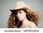 portrait of a woman in a cowboy ... | Shutterstock . vector #189901856