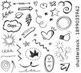 hand drawn set elements ... | Shutterstock .eps vector #1899035962
