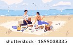 man and woman drinking wine and ... | Shutterstock .eps vector #1899038335