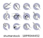 hand using stationery tools and ... | Shutterstock .eps vector #1899044452