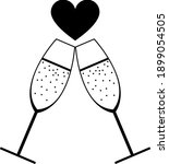 champagne glass with heart icon....   Shutterstock .eps vector #1899054505