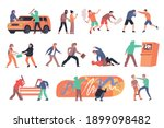 hooliganism flat compositions... | Shutterstock .eps vector #1899098482