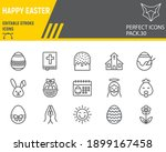 happy easter line icon set ... | Shutterstock .eps vector #1899167458