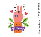 girl power love and peace hand... | Shutterstock .eps vector #1899177778
