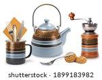 Kitchen Teapot Cup Set On White ...
