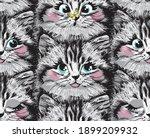 cute furry kitten face seamless ... | Shutterstock .eps vector #1899209932