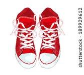 red sneakers on white... | Shutterstock .eps vector #189929612