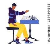 chess game. trendy flat... | Shutterstock .eps vector #1899344995