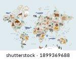 animals world map for kids.... | Shutterstock .eps vector #1899369688