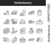 confectionery color line icons...