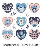 romantic set of hearts with... | Shutterstock .eps vector #1899411385