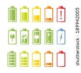 Battery Icons Set On White...
