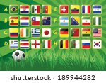 National Team Flags 2014 on grass background and soccer ball. 32 nations. vector icons.