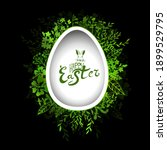easter card. egg and green... | Shutterstock .eps vector #1899529795
