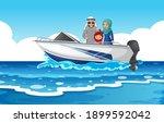 sea scene with arab family on... | Shutterstock .eps vector #1899592042