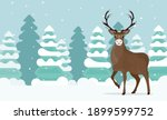 a large reindeer stands on a... | Shutterstock .eps vector #1899599752