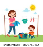 little kid helping mother to... | Shutterstock .eps vector #1899760465