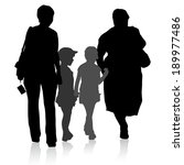 silhouette of family  mother... | Shutterstock . vector #189977486