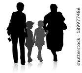 silhouette of family  mother... | Shutterstock . vector #189977486