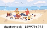 happy couple drinking wine and... | Shutterstock .eps vector #1899796795