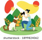 vector illustration of a girl... | Shutterstock .eps vector #1899824062