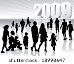 People are going to the New Year 2009. - stock vector
