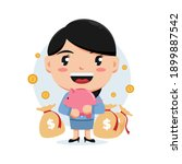 character of woman holding... | Shutterstock .eps vector #1899887542