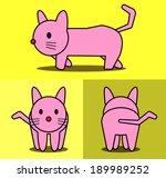 cat cartoon pattern with side... | Shutterstock .eps vector #189989252
