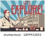 let's explore  retro scientific ... | Shutterstock .eps vector #1899922852