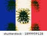 French Flag With The Virus ...