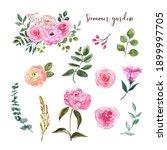 watercolor flower set. cute... | Shutterstock . vector #1899997705