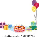 the view of cake and gift box... | Shutterstock .eps vector #190001285