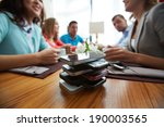 stack of cellphones with group... | Shutterstock . vector #190003565