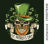 st. patrick's day skull wears a ... | Shutterstock .eps vector #1900078348