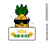 cool tropical pineapple...   Shutterstock .eps vector #1900209415