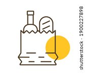 paper bag with food vector icon....