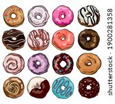 set of donuts drawings.... | Shutterstock . vector #1900281358
