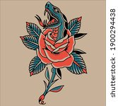 rose tattoo logo in the middle... | Shutterstock .eps vector #1900294438