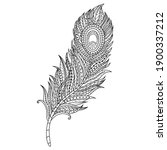 hand drawn of feather in... | Shutterstock .eps vector #1900337212