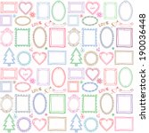 seamless colorful doodle frame... | Shutterstock . vector #190036448