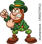 angry leprechaun holding fists... | Shutterstock .eps vector #1900375912