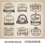 vintage retro bakery labels and ... | Shutterstock .eps vector #190040858