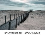 Wide View Of An Wooden Walkway...