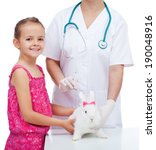 Little girl at the veterinary with her cute white rabbit - isolated - stock photo