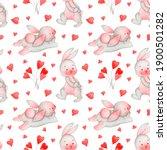 st valentine s rabbit... | Shutterstock . vector #1900501282