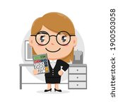 character of woman holding... | Shutterstock .eps vector #1900503058