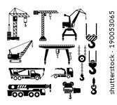 Set Icons Of Crane  Lifts And...
